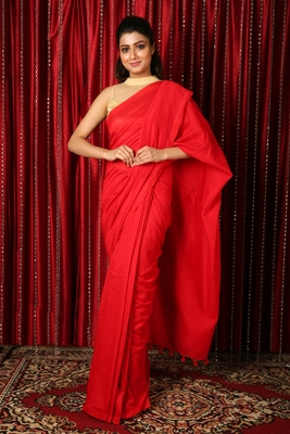Red plain blended cotton saree with blouse
