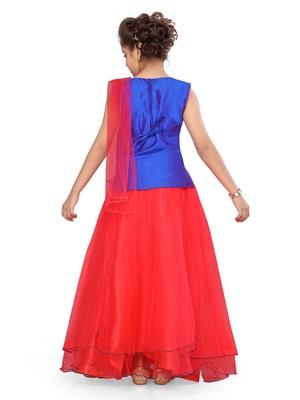 Red woven silk stitched lehenga