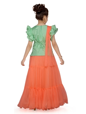 Orange woven silk stitched lehenga