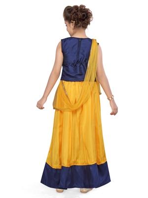 Yellow woven silk stitched lehenga