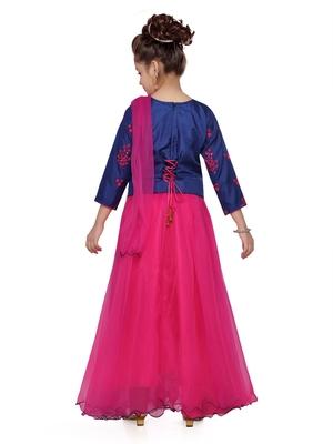 Pink woven silk stitched lehenga
