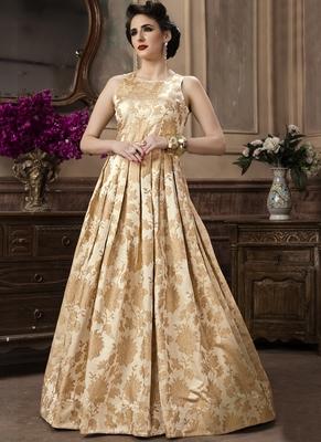 Cream Jacquard Designer Pakistani Kurtis