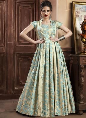 Sky Blue Jacquard Designer Pakistani Kurtis