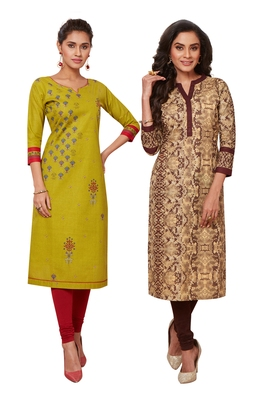 Women's Pack of 2 Cotton Printed Straight Fit Readymade Kurti combo