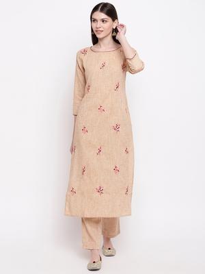Women's  Beige Cotton Embroidered Straight Kurta Pant Set