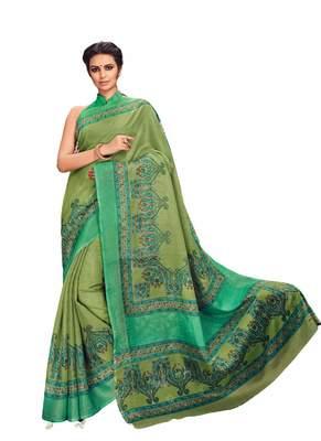 Green printed Kota Cotton saree with blouse