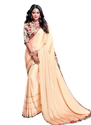 Peach printed Satin saree with blouse