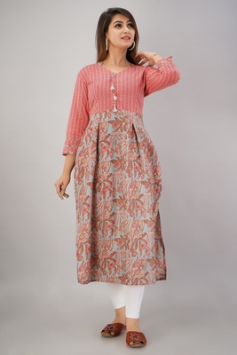 Women's  Grey & Pink Cotton Cambric Floral Printed Straight Kurta