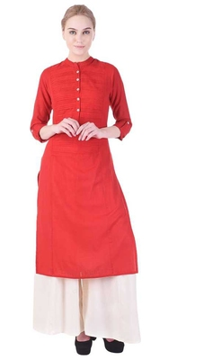 Women's  Red Cotton Slub Solid Straight Kurta