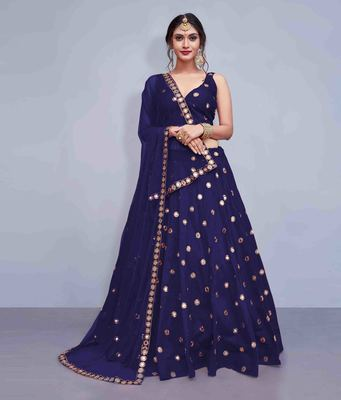 Navy-blue embroidered Art Silk semi stitched lehenga