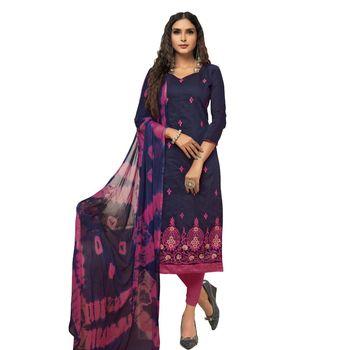 Dark-blue embroidered cotton silk salwar