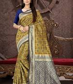 Buy Mustard woven patola silk blend saree with blouse