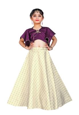 Kids Purple Blouse And White Lehenga Choli For Girls