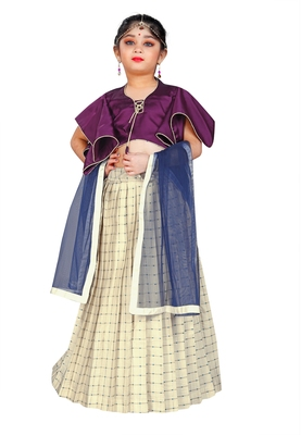 Kids Purple Blouse And White Lehenga Choli For Girls