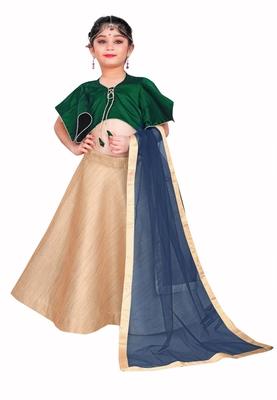 Kids Green Blouse And Golden Lehenga Choli For Girls