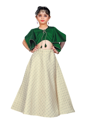 Kids Green Blouse And White Lehenga Choli For Girls