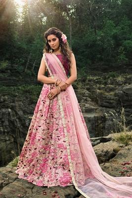Light pink thread embroidery net semi stitched lehenga