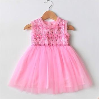Pink plain net kids-frocks