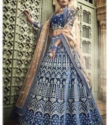 Blue embroidered velvet unstitched lehenga