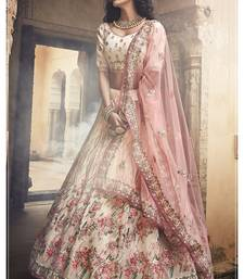 Off white embroidered organza unstitched lehenga