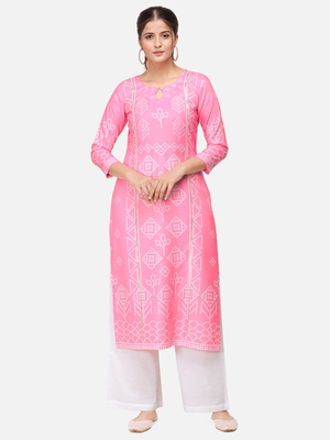 Pink & White Colored Printed Kurta Set