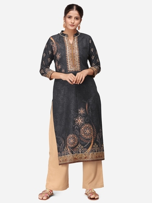 Black & Beige Colored Printed Kurta Set