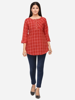 Red Color Cotton Embroidered Kurti