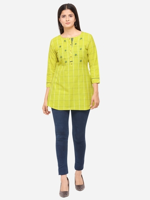 Lime Green Color Cotton Embroidered Kurti