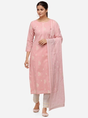 Pink Color Block Printed Unstitched Dress Material