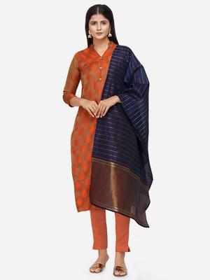 Orange & Navy Blue Unstitched Dress Material