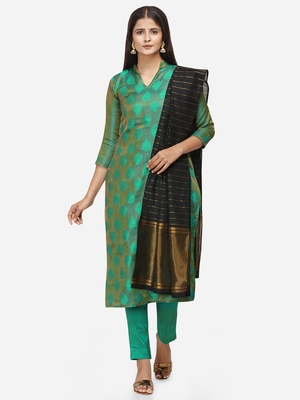 Green & Black Unstitched Dress Material
