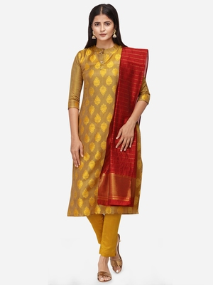 Mustard & Red Unstitched Dress Material
