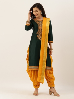 Green & Yellow Color Dress Material