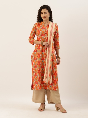 Orange Color Printed Unstitched Dress Material