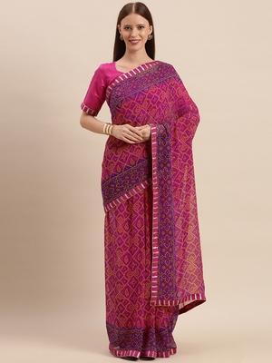 Pink & Purple Color Georgette Bandhani Print Saree