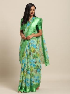 Green Color Printed Cotton Saree