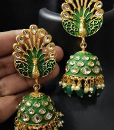 Royal Peacock Emerald Green Meenakri Kundan Jhumki Earrings