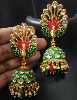 Royal Peacock Ruby Red Emerald Green Meenakri Kundan Jhumki Earrings