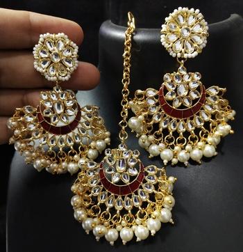 Bridal Red Meenakari Chandbali Kundan Pearl Earrings Tikka Full Set