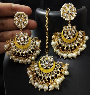Yellow Meenakari Chandbali Kundan Pearl Earrings Tikka Full Set