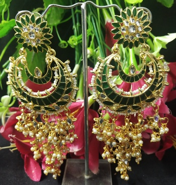 Emerald Green Meenakari Dangle Chandbali Long Laheriya Stylish Earrings