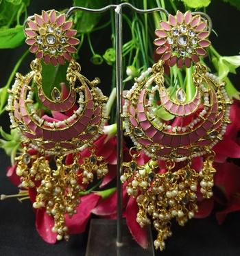 Pink Meenakari Dangle Chandbali Long Laheriya Stylish Earrings