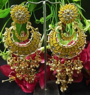 Yellow Meenakari Dangle Chandbali Long Laheriya Stylish Earrings