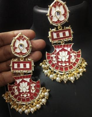 Designer Long Red Meenakari Kundan Pearl Long Earrings Set
