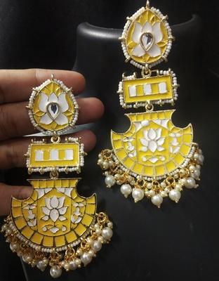 Designer Long Yellow Meenakari Kundan Pearl Long Earrings Set