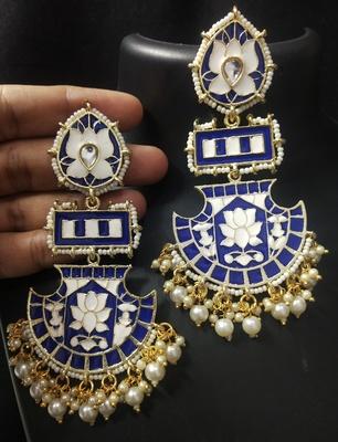 Designer Long Royal Blue Meenakari Kundan Pearl Long Earrings Set