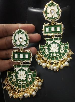 Designer Long Emerald Green Meenakari Kundan Pearl Long Earrings Set