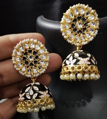 Black Pink Meenakari Heart Shape Jhumki Earrings Set