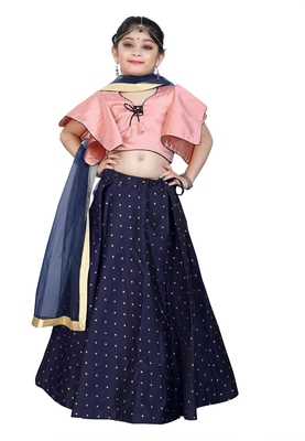 Kids Wedding Wear Pink Blouse And Blue Lehenga Choli For Girls