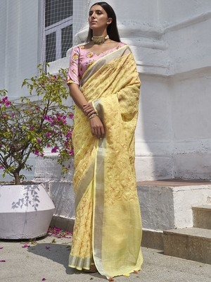 Yellow embroidered linen saree with blouse